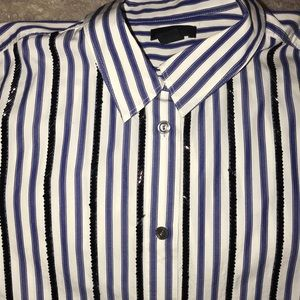 J Crew Collection Striped Black Beaded Shirt Sz 12